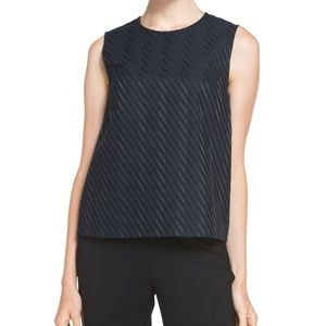 Theory Emlay B Structured Navy Striped Shell Top S